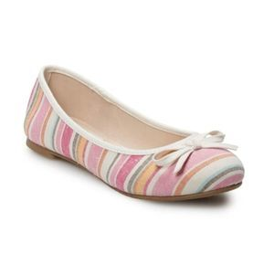 NWOT SO Orchid Women's Ballet Flats Striped